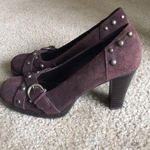 Mia brown suede heels.